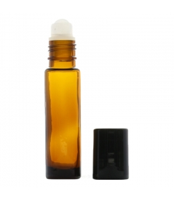 Braune Glasflasche 10ml mit Kunststoffkugel und schwarzem Verschluss - 1 Stück - Potion & Co
