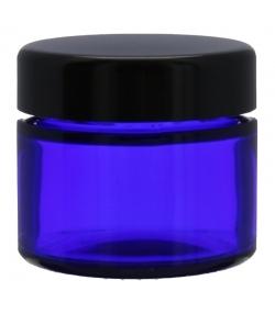 Pot en verre bleu 50ml avec couvercle à vis noir - 1 pièce - Potion & Co
