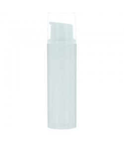 Flacon airless en plastique blanc 10ml avec pompe de distribution et bouchon transparent - 1 pièce - Potion & Co