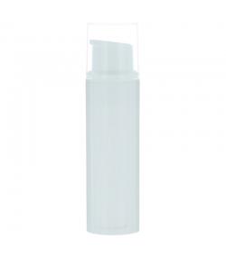 Weisse airless Plastikflasche 10ml mit Pumpspender und transparentem Verschluss - 1 Stück - Potion & Co