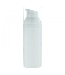 Flacon airless en plastique blanc 50ml avec pompe de distribution et bouchon transparent - 1 pièce - Potion & Co