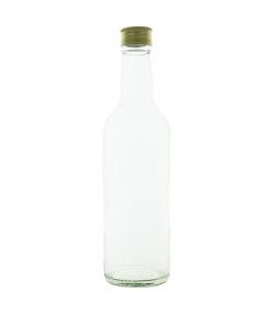 Runde transparente Glasflasche 500ml mit Schraubverschluss aus Aluminium - 1 Stück - Potion & Co