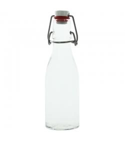 Bouteille limonade fond rond en verre transparent 200ml avec bouchon mécanique en porcelaine - 1 pièce - Potion & Co