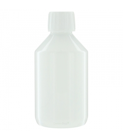 Bouteille Veral en plastique blanc 250ml avec bouchon à vis blanc et anneau d'inviolabilité - 1 pièce - Potion & Co
