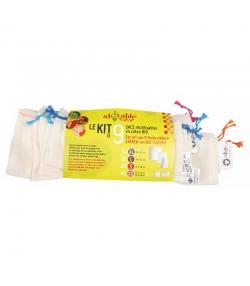 Set 9 Wiederverwendbare Beutel aus Bio-Baumwolle - Grösse 1XL, 2L, 2S, 4XS - 9 Stück - ah table !