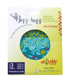 Wiederverwendbare rechteckige Verpackungen mit Bio-Wachs Gartenspaziergang - Grössen S, M, L - 3 Stück - ah table ! Les Bizz