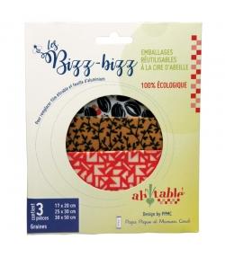 Emballages réutilisables à la cire d'abeille bio graines - Tailles S, M, L - 3 pièces - ah table ! Les Bizz Bizz