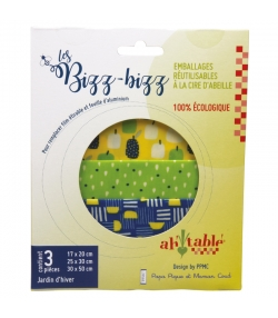 Emballages réutilisables à la cire d'abeille bio jardin d'hiver - Tailles S, M, L - 3 pièces - ah table ! Les Bizz Bizz