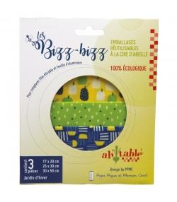 Wiederverwendbare rechteckige Verpackungen mit Bio-Wachs Wintergarten - Grössen S, M, L - 3 Stück - ah table ! Les Bizz Bizz