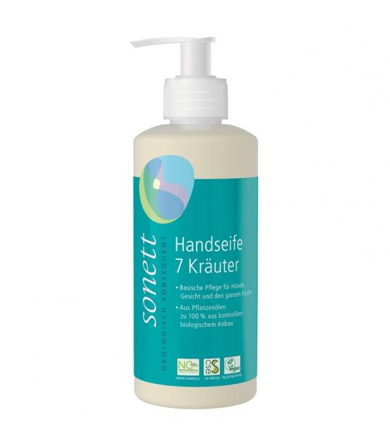 Ökologische flüssige Seife für Hände, Gesicht & Körper 7 Kräuter - 300ml - Sonett