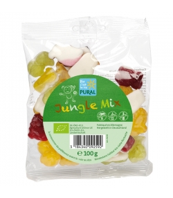 Bonbons aux fruits BIO avec gélatine - Jungle Mix - 100g - Pural