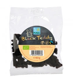 Bonbons oursons gélifiés à la réglisse BIO avec gélatine - Black Teddy - 80g - Pural