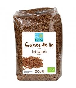 Graines de lin brunes entières BIO - 500g - Pural