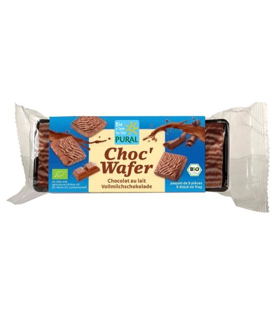 Gaufrettes fourrées à la crème de coco & enrobées de chocolat au lait BIO - Choc'Wafer - 110g - Pural