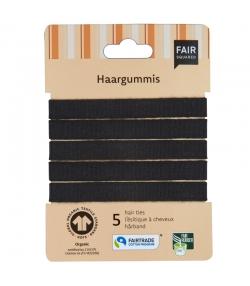 Élastiques à cheveux noirs en coton BIO - 5 pièces - Fair Squared