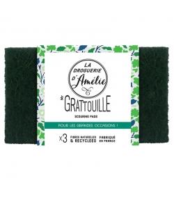 Tampons à récurer en fibres naturelles & recyclées Mr Gratouille - 3 pièces - La droguerie d'Amélie