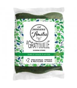 Éponges végétales grattantes en fibres naturelles & recyclées Mme Gratouille - 2 pièces - La droguerie d'Amélie