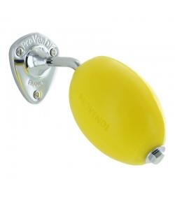 Savon jaune rotatif naturel citron & pomme avec porte-savon mural à vis chrome - 290g - Provendi