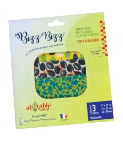 Wiederverwendbare rechteckige Verpackungen mit Bio-Wachs Patchwork - Grössen S, M, L - 3 Stück - ah table ! Les Bizz Bizz