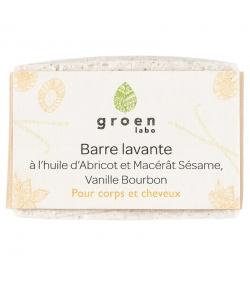 Barre lavante corps & cheveux naturelle abricot, sésame & vanille Bourbon - 100g - Groen labo