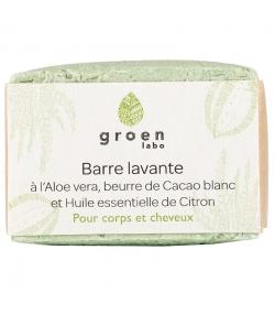 Barre lavante corps & cheveux naturelle aloe vera, cacao & citron - 100g - Groen labo