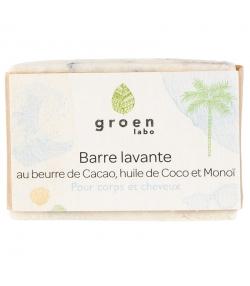 Barre lavante corps & cheveux naturelle cacao, coco & monoï - 100g - Groen labo