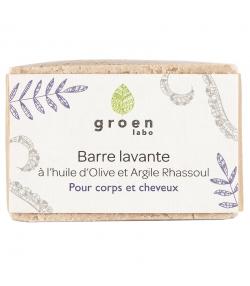 Barre lavante corps & cheveux naturelle olive & rhassoul - 100g - Groen labo