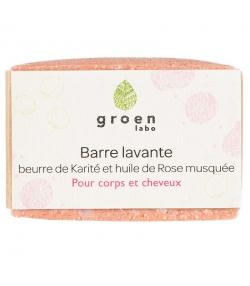 Barre lavante corps & cheveux naturelle beurre de karité & rose musquée - 100g - Groen labo