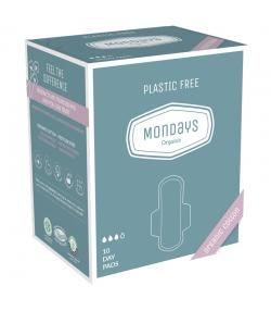Serviettes hygiéniques de jour BIO avec ailettes pour règles légères à moyennes - 10 pièces - Organic Mondays