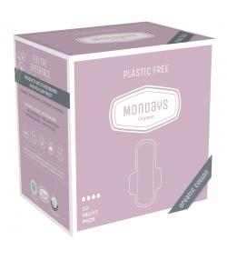 Serviettes hygiéniques de nuit BIO avec ailettes pour règles moyennes à fortes - 10 pièces - Organic Mondays