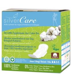 Serviettes hygiéniques ultra-fine jour BIO avec ailettes pour règles légères à moyennes - 10 pièces - Silvercare