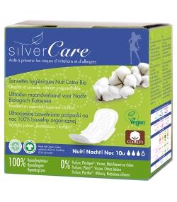 Serviettes hygiéniques ultra-fine nuit BIO avec ailettes pour règles moyennes à fortes - 10 pièces - Silvercare
