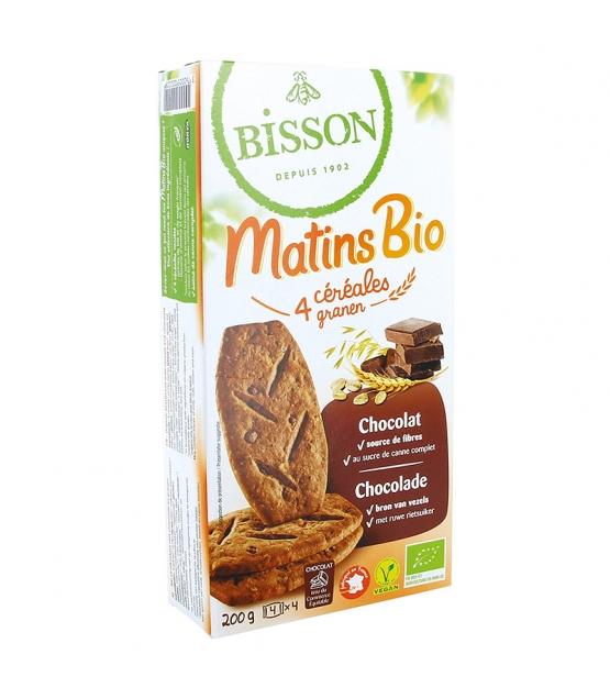 """BIO-Biscuits mit 4 Cerealien & Schokolade """"Matins"""" BIO - 200g - Bisson"""