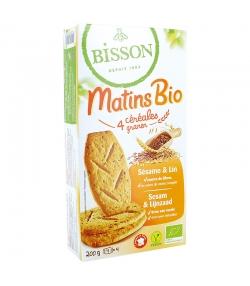 """Biscuits aux 4 céréales, sésame & lin """"Matins"""" BIO - 210g - Bisson"""