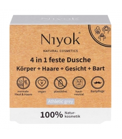 Gel douche corps, cheveux, visage & barbe solide 4 en 1 naturel Athletic grey - 80g - Niyok