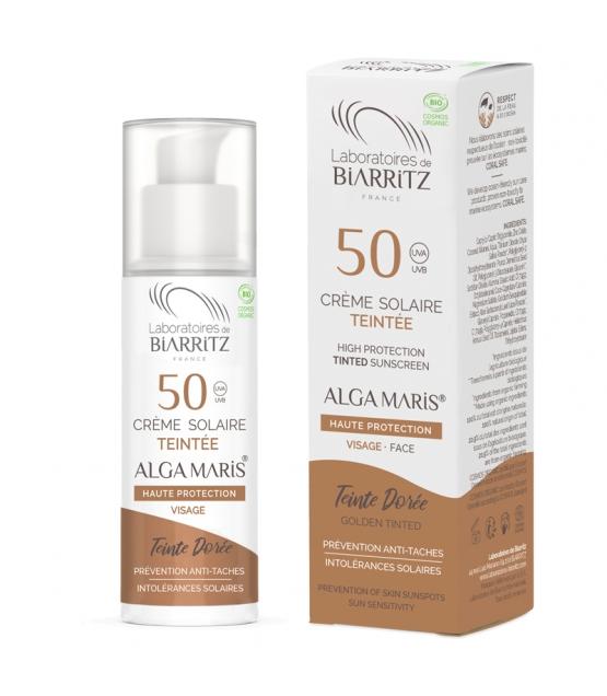 Crème solaire visage teintée dorée BIO IP 50 algue rouge - 50ml - Laboratoires de Biarritz Alga Maris