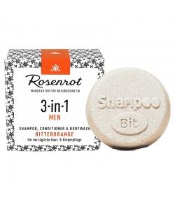 Natürliches festes Shampoo, Spülung & Duschgel 3-in-1 Bitterorange für Männer - 60g - Rosenrot