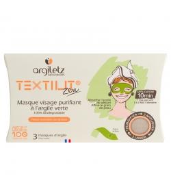 Masque visage purifiant à l'argile verte - 3 pièces - Argiletz Textilit Zen