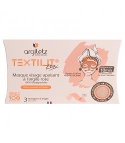 Masque visage apaisant à l'argile rose - 3 pièces - Argiletz Textilit Zen