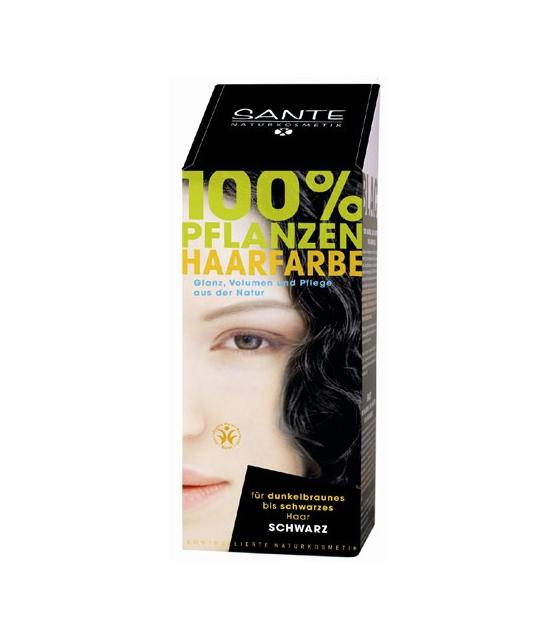 BIO-Pflanzen-Haarfarbe Pulver Schwarz - 100g - Sante