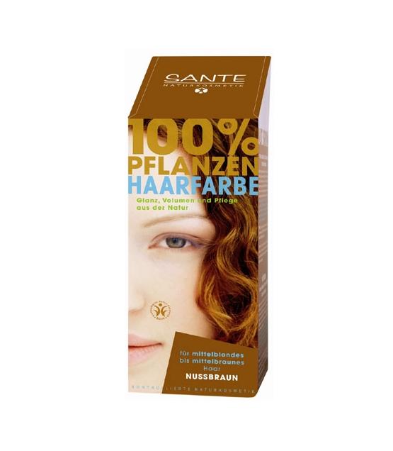 BIO-Pflanzen-Haarfarbe Pulver Nussbraun - 100g - Sante