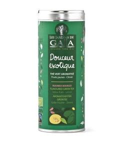 Thé vert aromatisé aux fruits jaunes& au citron BIO – Douceur exotique – 100g – Les Jardins de Gaïa