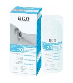 Lotion solaire neutre visage & corps BIO IP 20 sans parfum – 100ml – Eco Cosmetics