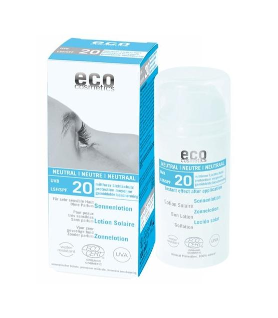 Lotion solaire neutre visage & corps BIO IP 20 sans parfum - 100ml - Eco Cosmetics