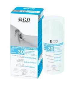 Lotion solaire neutre visage & corps BIO IP 30 sans parfum – 100ml – Eco Cosmetics