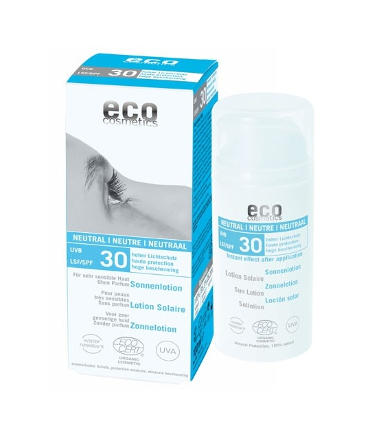 Lotion solaire neutre visage & corps BIO IP 30 sans parfum - 100ml - Eco Cosmetics