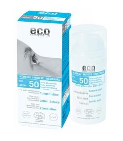 Lotion solaire neutre visage & corps BIO IP 50 sans parfum – 100ml – Eco Cosmetics