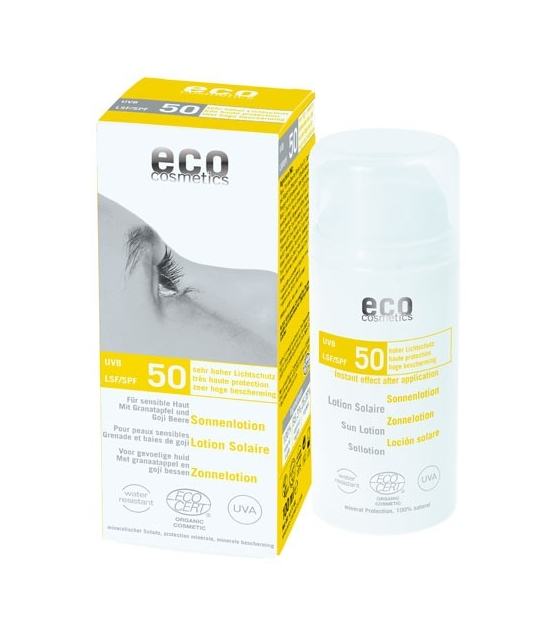 Lotion solaire visage & corps BIO IP 50 grenade & baies de goji - 100ml - Eco Cosmetics