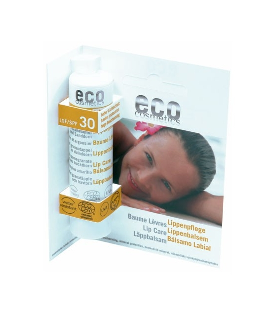 Baume à lèvres solaire BIO IP 30 grenade – 4g – Eco Cosmetics