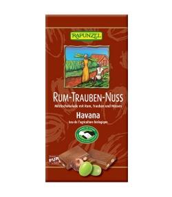 Chocolat au lait, rhum, raisins & noisettes BIO – Havana – 100g – Rapunzel